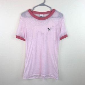 Victoria's Secret Pink Sheer Burner Ringer Tee